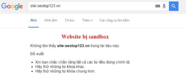 trang web bị sandbox